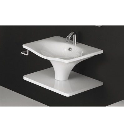 Lavabo 60 sospeso/colonna Libera LL60 Nero Ceramica