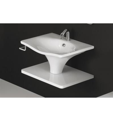 Lavabo 90 sospeso/colonna Libera LL75 Nero Ceramica